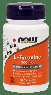 ТИРОЗИН СПОМАГА ДА СЕ ИЗБЕГНЕ ПРЕНАТОВАРВАНЕ - 500 мг. * 60капс., НАУ ФУДС