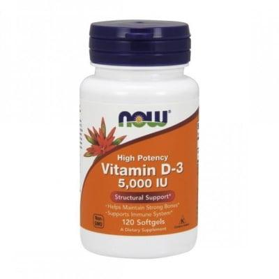 НАУ ФУДС ВИТАМИН D-3 - подобрява костната плътност - 3 5000 iu х 120, NOW FOODS