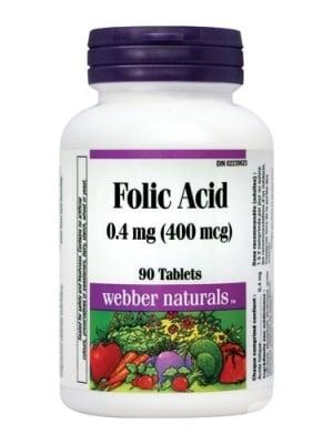 ФОЛИЕВА КИСЕЛИНА - жизнено важна за развитието на плода през първите седмици на бременността - таблетки 0,4 мг х 90, WABBER NATURALS