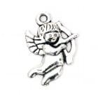 Висулка метална ангелче 22x16x2 мм дупка 2 мм цвят старо сребро -5 броя