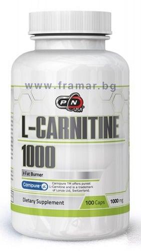ПЮР НУТРИШЪН L-КАРНИТИН капсули 1000 мг. * 100