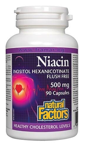 НИАЦИН ИНОЗИТОЛ ХЕКСАНИКОТИНАТ капсули 500 мг * 90 НАТУРАЛ ФАКТОРС