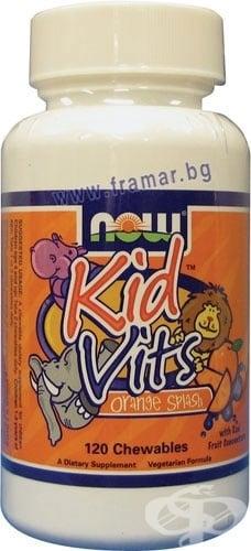 НАУ ФУДС ВИТАМИНИ ЗА ДЕЦА с вкус на портокал табл. * 120