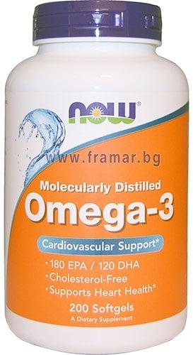 НАУ ФУДС ОМЕГА - 3 дражета 1000 мг. * 200