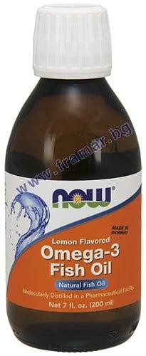 НАУ ФУДС ОМЕГА - 3 течна формула с вкус на лимон 200 мл.