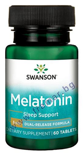 СУОНСЪН МЕЛАТОНИН С ДВОЙНО ОСВОБОЖДАВАНЕ таблетки 3 мг. * 60