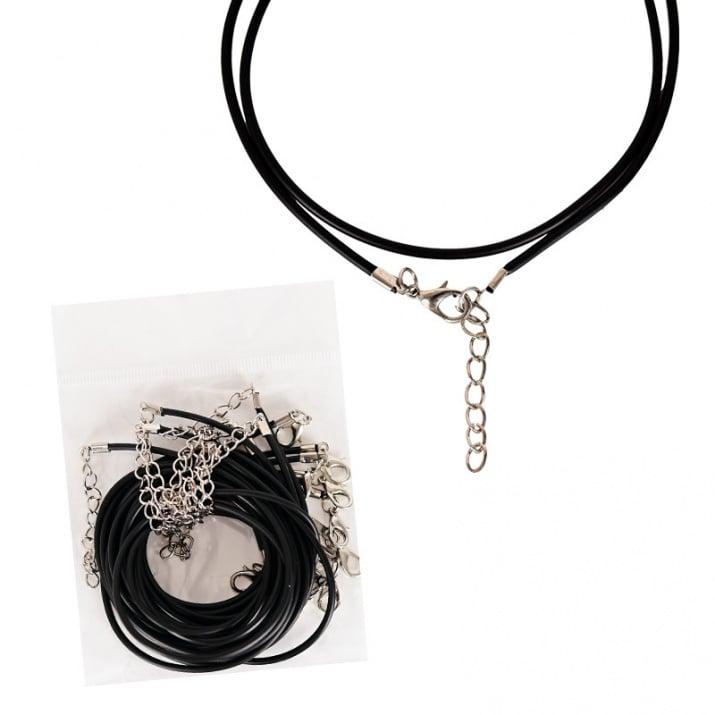 Черна силиконова верижка със сребрист накрайник