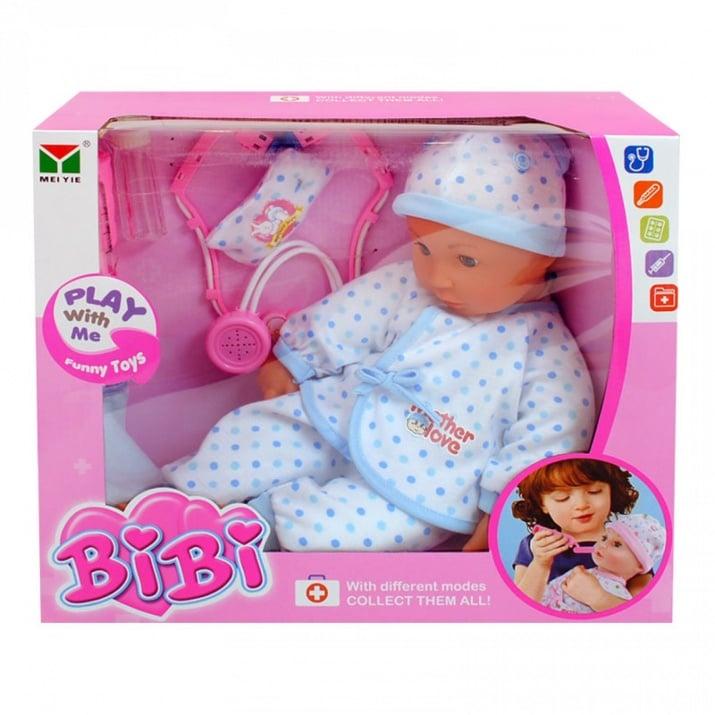 Играчка бебе - на батерии, COSMOPOLIS  Болно бебе с аксесоари /син/