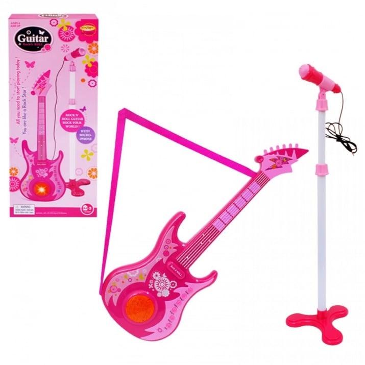 К-кт микрофон на стойка с китара /розов/