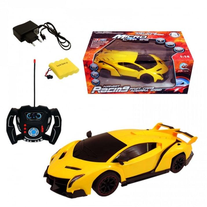 Симулационна спортна кола с радио контрол 1:14, COSMOPOLIS Симулационна спортна кола с РК 1:14 /жълт/