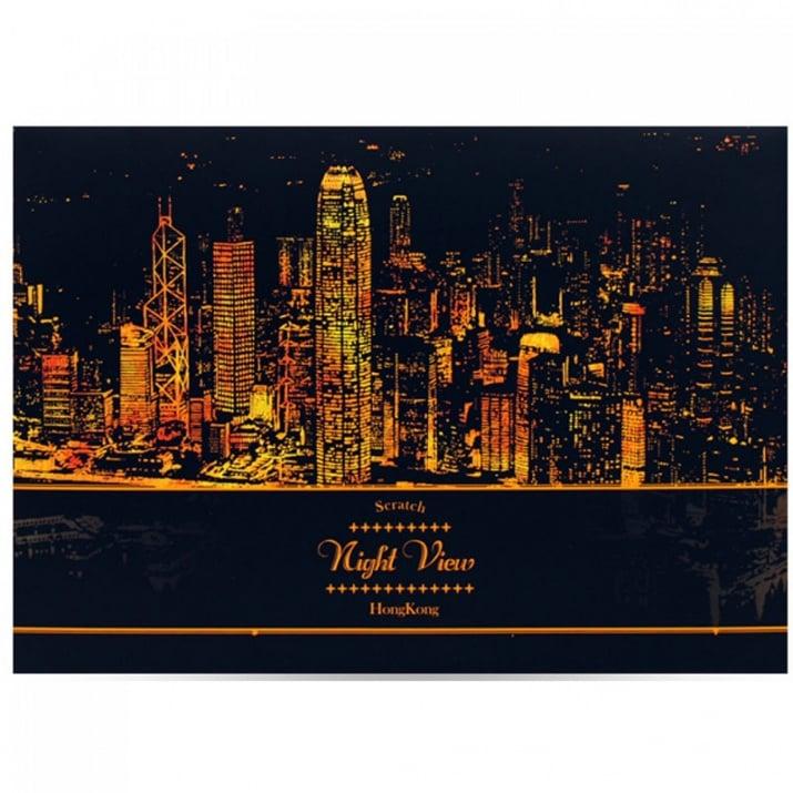 """Скреч листи Нощен изглед Скреч листи """"Нощен изглед на Хонг Конг"""""""