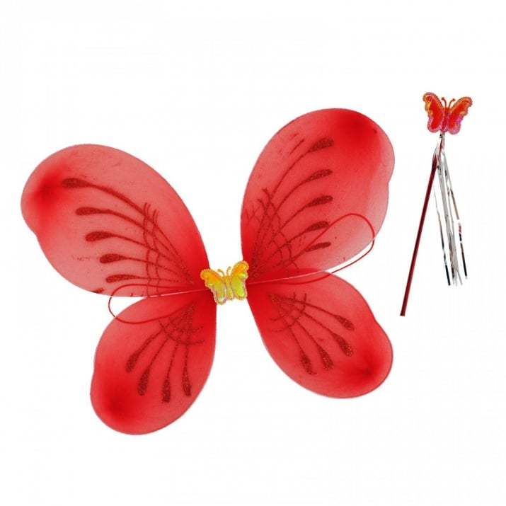 """Парти крила с пръчица Пеперуда Парти крила с пръчица """"Пеперуда"""" /червен/"""