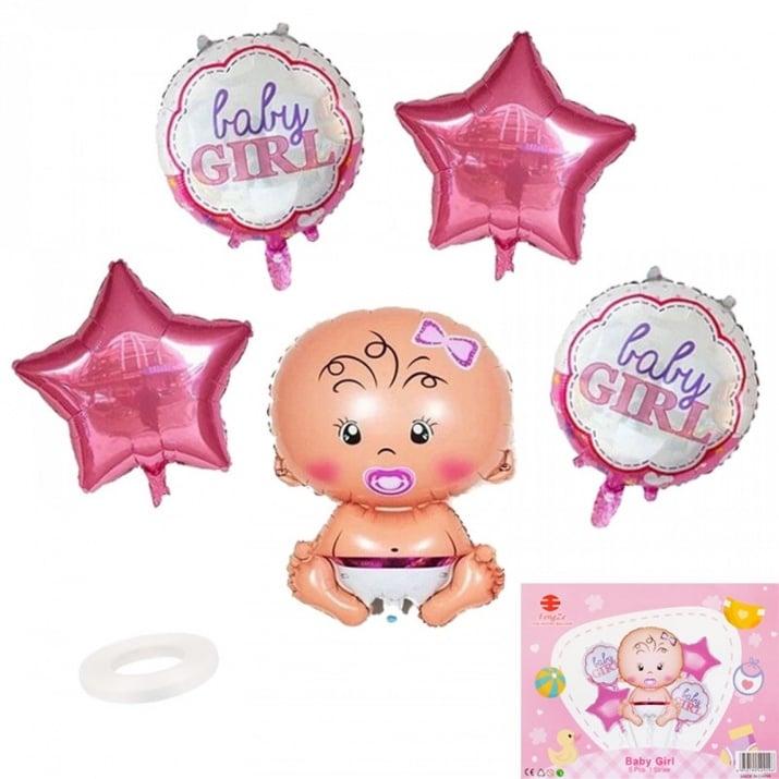 """Луксозен комплект балони Baby Girl / Boy /фолио/ К-кт балони """"Baby Girl"""" /розов/"""