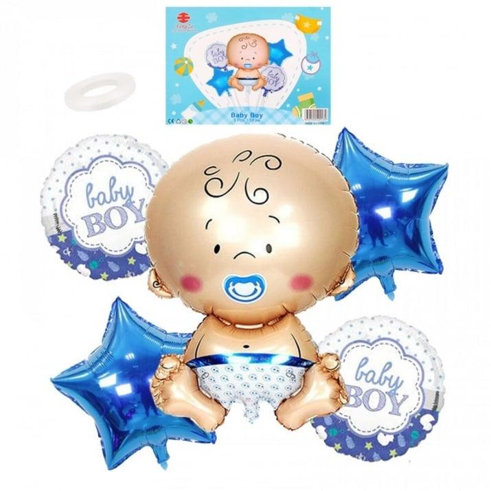 """Луксозен комплект балони Baby Girl / Boy /фолио/ К-кт балони """"Baby Boy"""" /син/"""