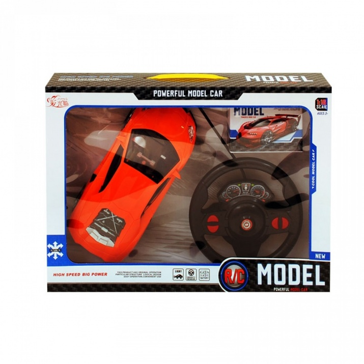 Симулационна спортна кола с волан 1:16 Симулационна спортна кола с волан 1:16 /оранжев/