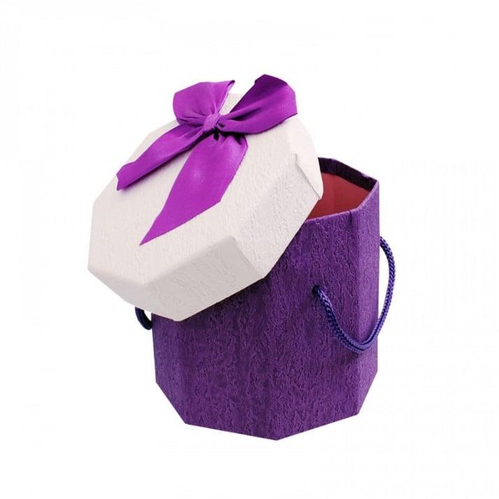 Подаръчни кутии с дръжки /осмоъгълни/ Подаръчна кутия с дръжки /лилав/