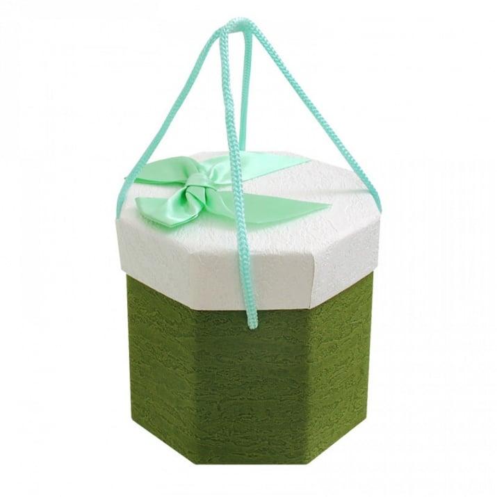 Подаръчни кутии с дръжки /осмоъгълни/ Подаръчна кутия с дръжки /зелен/