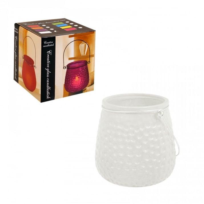 Свещник /матирано стъкло/ с метална дръжка Свещник /матирано стъкло/ - бял