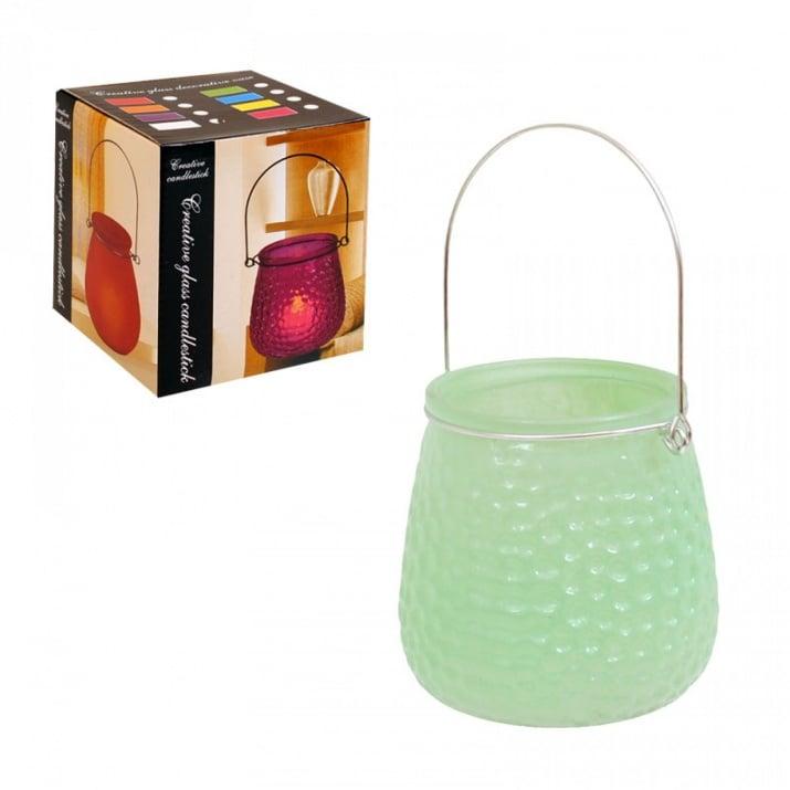 Свещник /матирано стъкло/ с метална дръжка Свещник /матирано стъкло/ - зелен