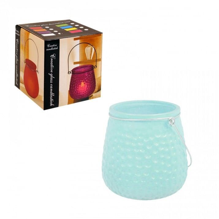 Свещник /матирано стъкло/ с метална дръжка Свещник /матирано стъкло/ - син