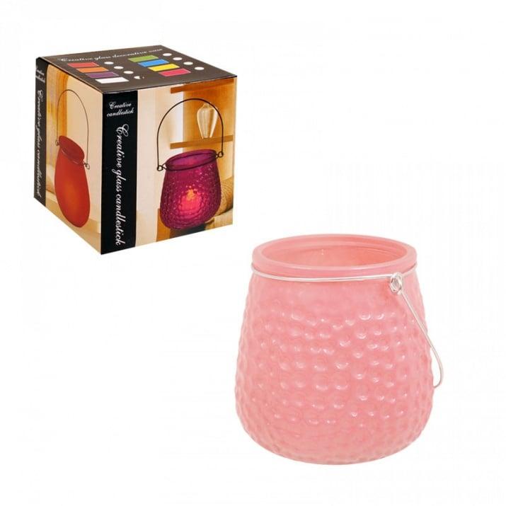 Свещник /матирано стъкло/ с метална дръжка Свещник /матирано стъкло/ - розов