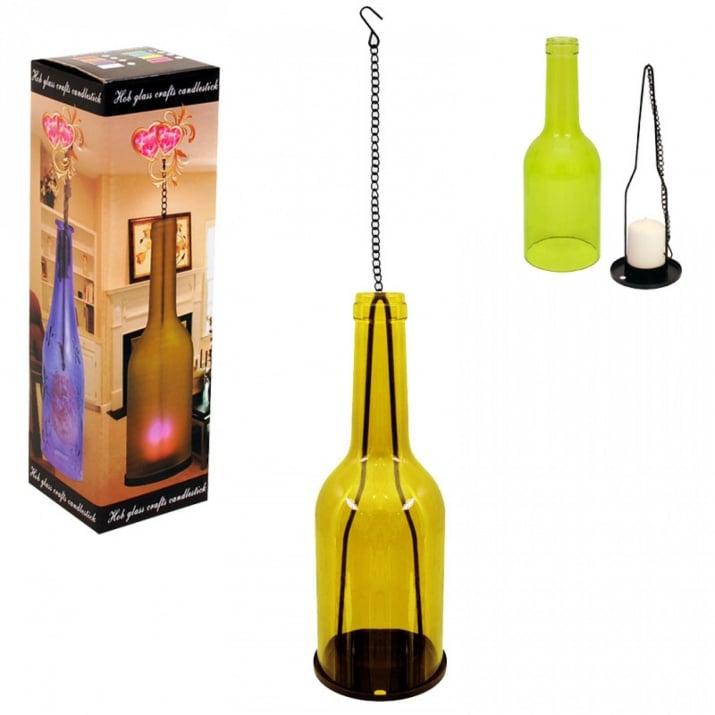 Свещник - Бутилка /стъкло и метал/ Свещник - Бутилка /стъкло/ - жълт