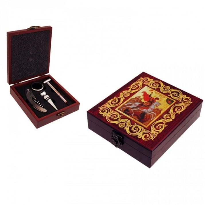"""Аксесоари за вино """"Св. Георги"""" в луксозна кутия"""
