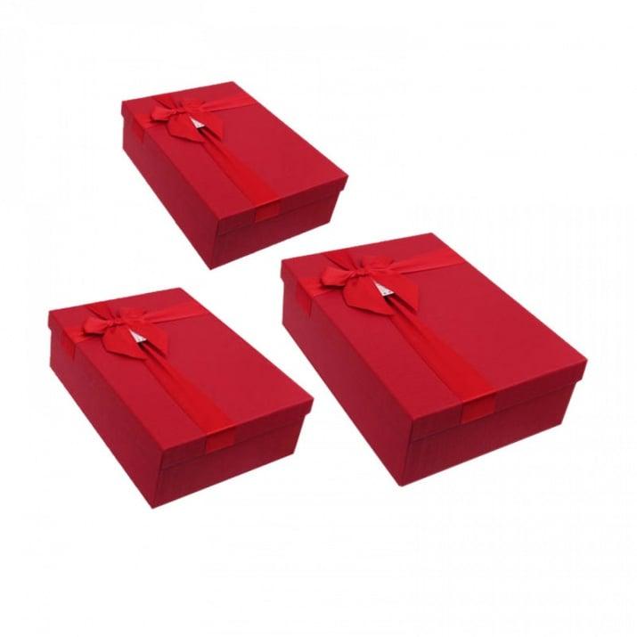 Луксозна подаръчна кутия 3 в 1 /правоъгълна/ Луксозна подаръчна кутия 3 в 1 /червен/