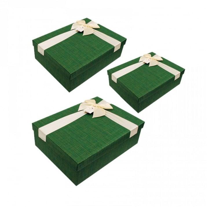 Луксозна подаръчна кутия 3 в 1 /правоъгълна/ Луксозна подаръчна кутия 3 в 1 /зелен/
