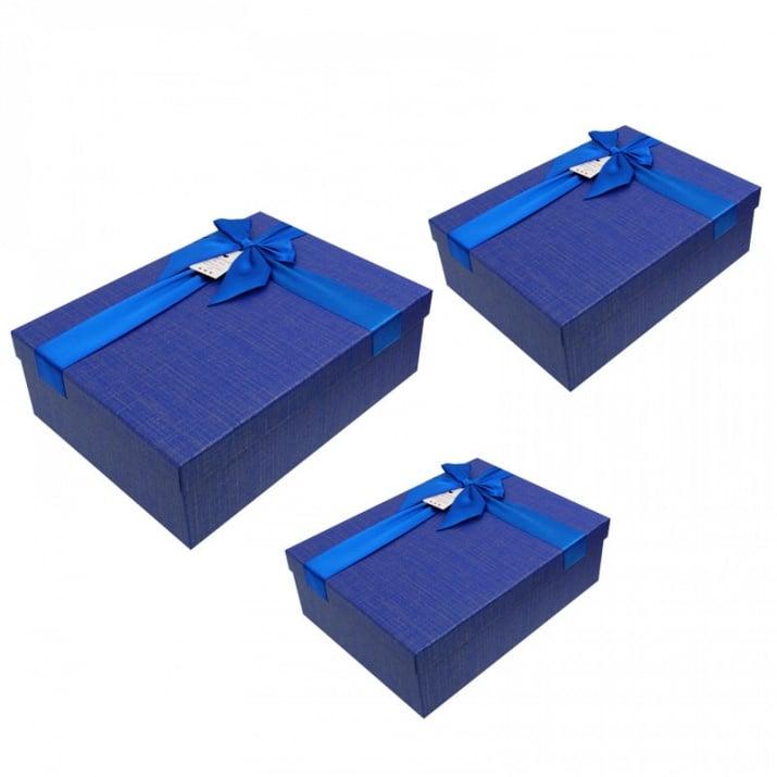 Луксозна подаръчна кутия 3 в 1 /правоъгълна/ Луксозна подаръчна кутия 3 в 1 /син/