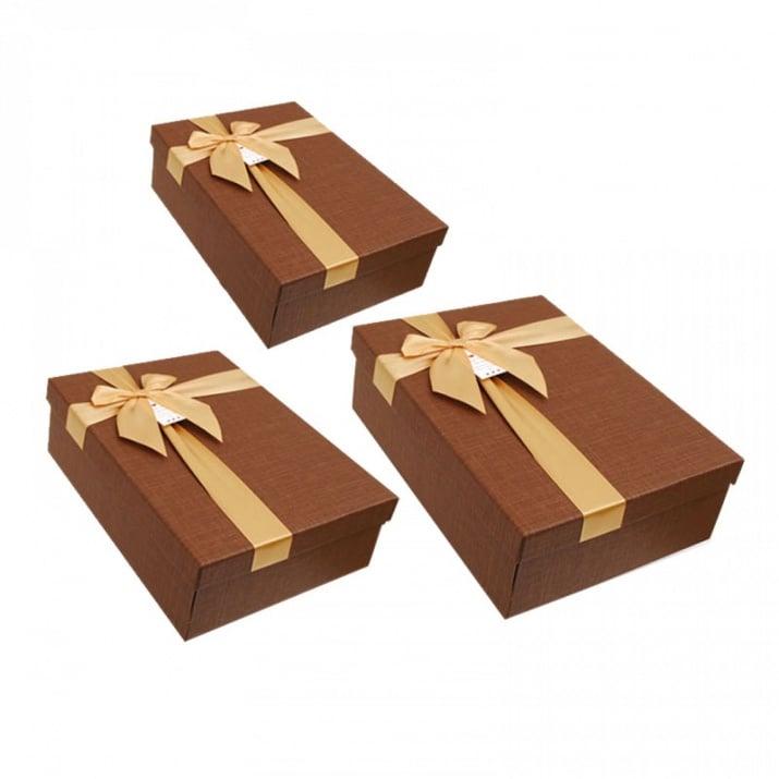 Луксозна подаръчна кутия 3 в 1 /правоъгълна/ Луксозна подаръчна кутия 3 в 1 /кафяв/