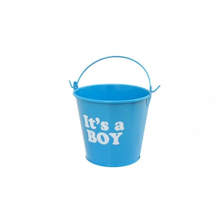 """Метална кофичка /12 броя в опаковка от цвят/ Метална кофичка """"It's a BOY"""" /син/"""