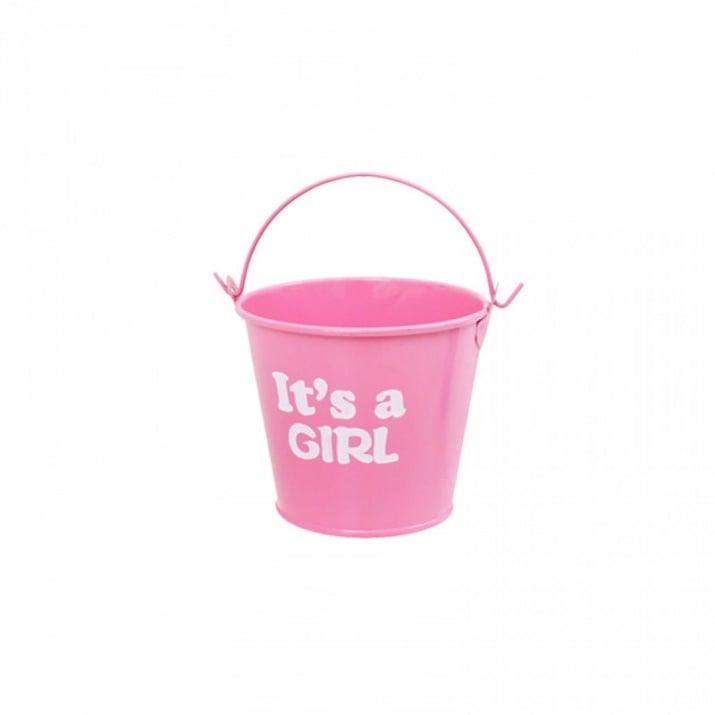 """Метална кофичка /12 броя в опаковка от цвят/ Метална кофичка """"It's a GIRL"""" /розов/"""