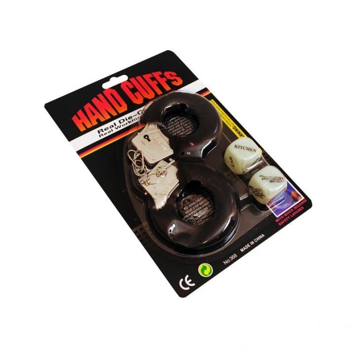 Комплект белезници с еротични зарчета К-кт  белезници с еротични зарчета /черен/
