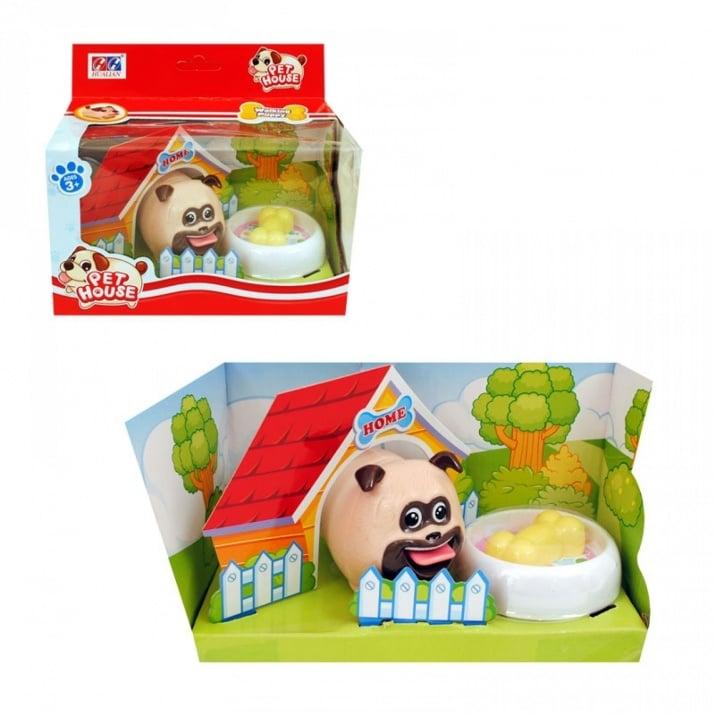 Кученце с картонена къщичка и купичка с храна