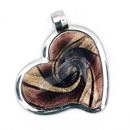 Висулка Мурано сърце метал 55x49x10 мм дупка 7 мм цвят кафяв