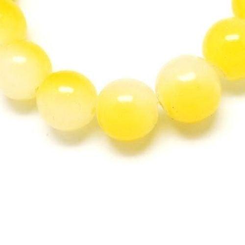 Наниз мъниста стъкло топче 6 мм със спрей двуцветно бяло-жълто ~80 см ~140 броя