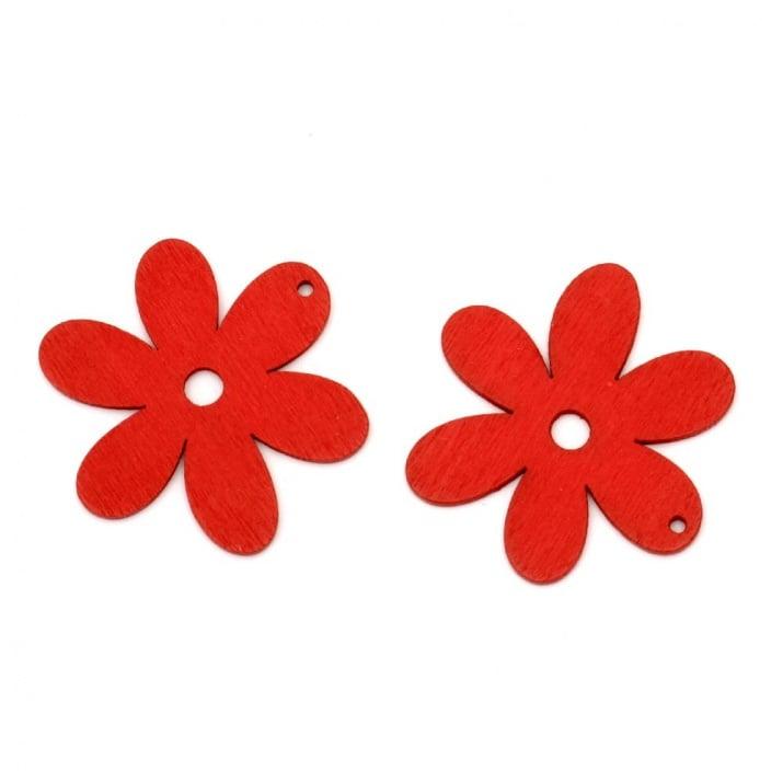 Висулка дървeна цвете 40x2 мм червена -10 броя
