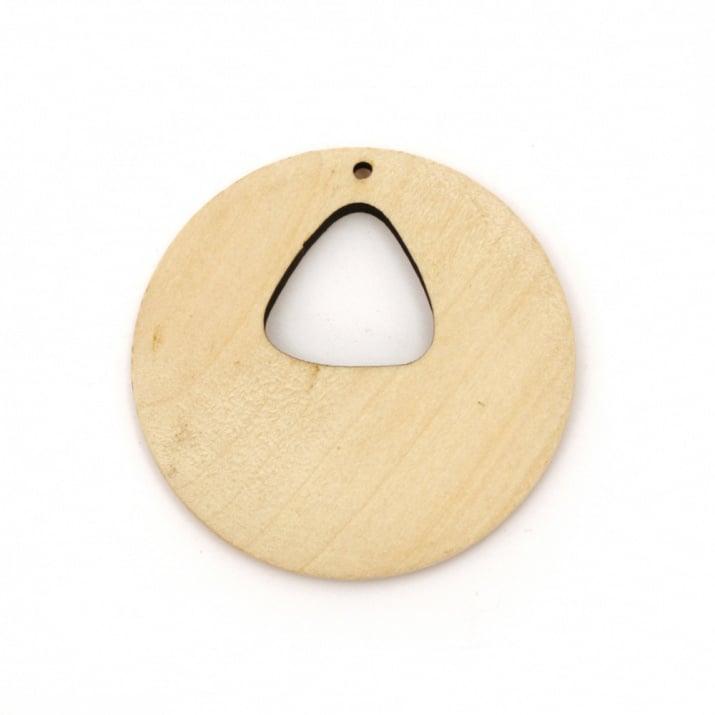 Висулка дърво за декорация кръг 50x6 мм дупка 2 мм цвят дърво -2 броя