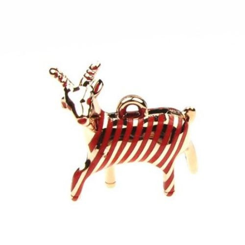 Висулка метализе коза 42х36х14 мм червен -2 броя