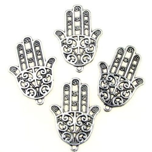 Висулка метална ръката на Фатима 34.5x24x1.5 мм дупка 2 мм цвят сребро -4 броя