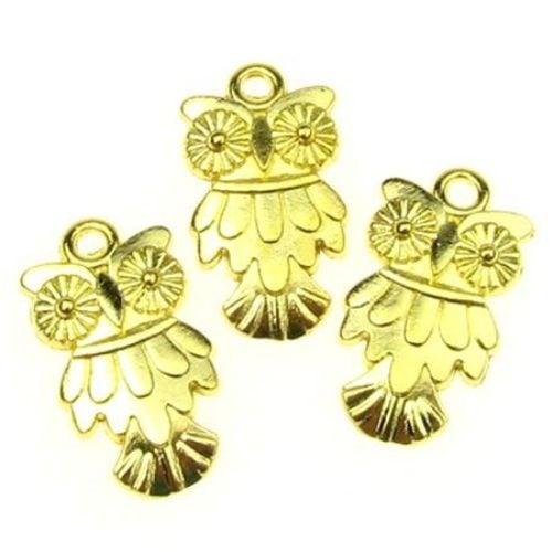 Висулка метална бухал 19х11х2 мм цвят злато -9.65 грама -10 броя