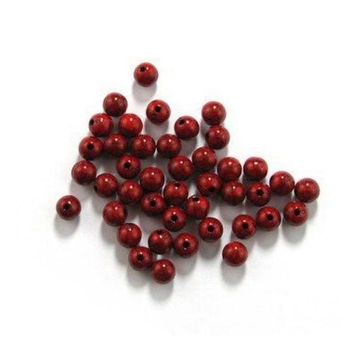 Мънисто имитация тюркоаз топче 8 мм дупка 2 мм червено -50 грама ~ 170 броя