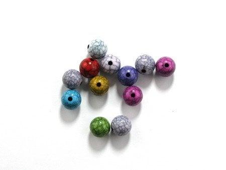 Мънисто имитация тюркоаз топче 12 мм дупка 2 мм микс -50 грама