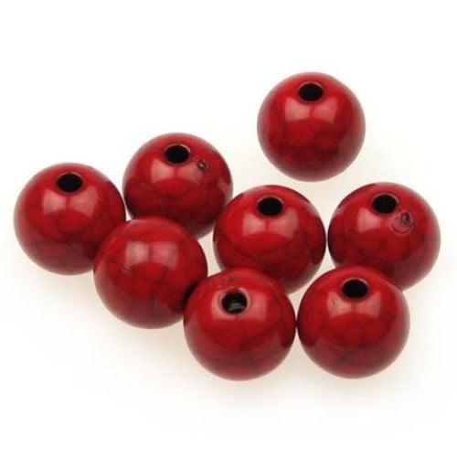Мънисто имитация тюркоаз топче 10 мм дупка 1.5 мм червено - 50 грама ~ 90 броя