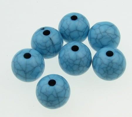 Мънисто имитация тюркоаз топче 12 мм дупка 2 мм синьо -50 грама