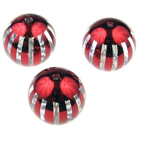 Топче прозрачно с металик райе 18 мм. отвор 2.5 мм. червено - 5 броя