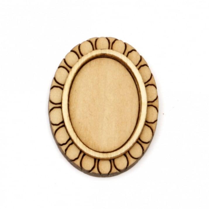 Дървена основа за медальон 36x28x5 мм плочка 25x18 мм цвят дърво -4 броя