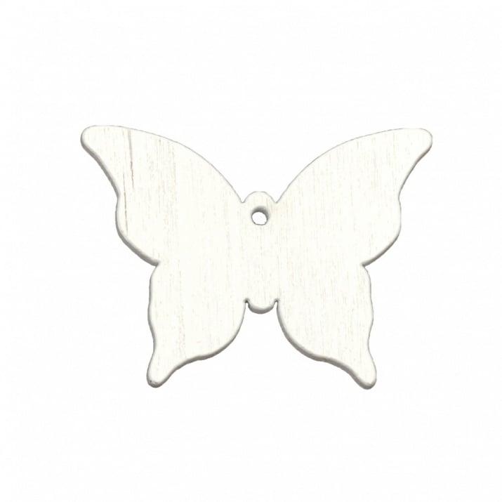 Висулка дърво пеперуда 38x50x2 мм дупка 2 мм цвят бял -5 броя