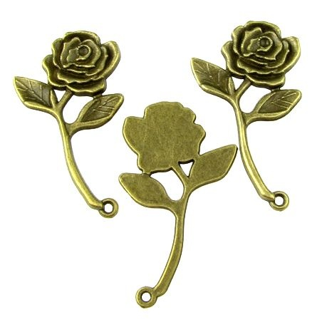 Висулка метална роза 35х20x2 мм дупка 1.5 мм цвят антик бронз -5 броя